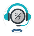 call center headset 24 hours 7 day always vector image