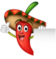 chili pepper with blank sign vector image vector image