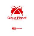 cloud planet logo designs online planet logo vector image vector image