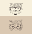 cute cat kitten in glasses hipster style engraved vector image vector image