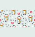 cute winter penguins seamless pattern scandinavian vector image