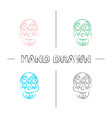 day dead hand drawn icons set vector image
