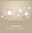 dollar icon on a brown background with elegant vector image