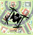 drone with city below top view town with camera vector image vector image