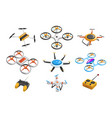 flat set quadrocopters remote vector image