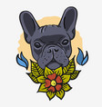 french bulldog vintage traditional tattoo vector image vector image