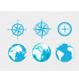 globe and wind rose icons isolated on transparent vector image