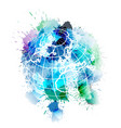 globe covered with colorful grunge splashes vector image