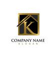 gold letter k house logo vector image vector image