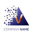 golden letter v logo symbol in blue pixel triangle vector image vector image