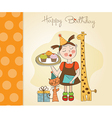 Happy Birthday card with funny girl animals and vector image