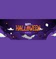 happy halloween banner night sky spooky background vector image vector image
