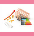 isometric energy efficient wooden house vector image vector image