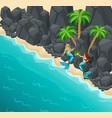 isometric island two mermaids on a rocky shore vector image