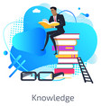 knowledge gaining male businessman on books vector image vector image
