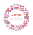 makeup beauty care red circle poster with flat vector image vector image