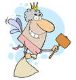 Male White Tooth Fairy Flying With A Bag And Malle vector image vector image
