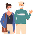 man and woman are wearing medical masks couple vector image vector image