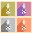 Modern collection flat icons with shadow coin and vector image vector image