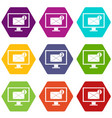 monitor screen with email sign icon set color vector image vector image