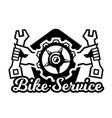 monochrome logo mountain bike repair vector image vector image