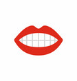 mouth with red lips simple vector image