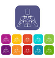 muscular man with tattoo icons set flat vector image vector image