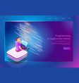 programing service in augmented reality web banner vector image