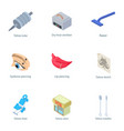 puncture icons set isometric style vector image vector image