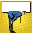 Retro businessman bent under the Billboard vector image vector image