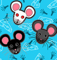 Seamless mice pattern over blue vector image