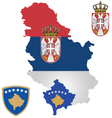 Serbia and Kosovo Flag vector image vector image