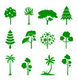 set of green tree icons vector image vector image