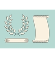Set of old vintage ribbon banner and laurel wreath vector image vector image