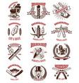 set of vintage barber shop emblems badges and vector image vector image