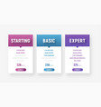set of web price tables in a minimalist modern vector image vector image