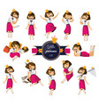 set with lovely little cute girl hand drawn vector image vector image