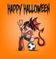 sexy devil woman sitting on a soccer ball vector image