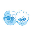 silhouette old couple face with hairstyle vector image vector image