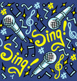 sing seamless pattern blue vector image