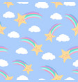 smiling shooting stars and fluffy clouds purple vector image vector image
