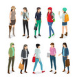 student or college girl cartoon characters set vector image