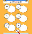 telling time with clock face educational task vector image vector image