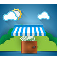 wallet money shop store icon business vector image vector image