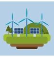 wind energy solar panel mountain background vector image
