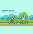 woman man couple cycling on city park green lawn vector image