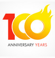 100 anniversary flame logo vector image