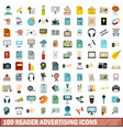 100 reader advertising icons set flat style vector image