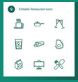 9 restaurant icons vector image vector image