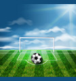 a soccer ball on the green stadium 3d vector image vector image